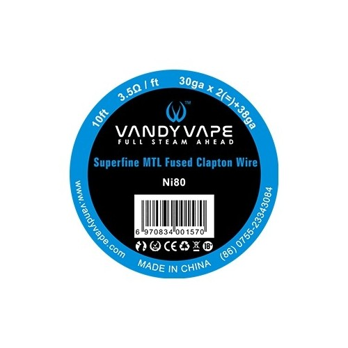 Vandy Vape 30-38 Superfine Fused Clapton Nichrome N80 wire Συρμα