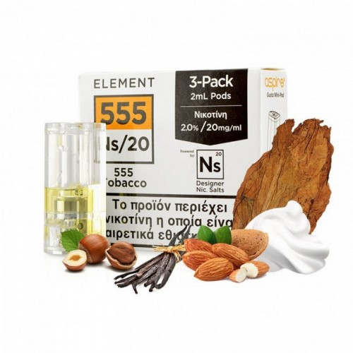 Element Nic Salt 555 Tobacco - 3xGusto Mini Pods