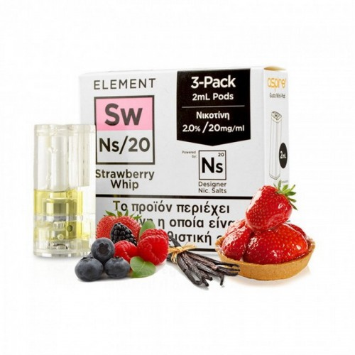 Element Nic Salt Strawberry Whip - 3xGusto Mini Pods