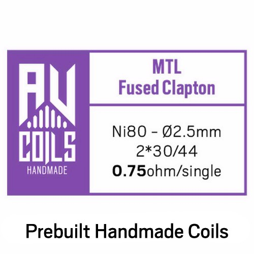 AV Coils Fused Clapton MTL Ni80 0.75 Ohm Coils - Ετοιμες Αντιστασεις