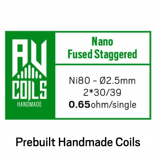 AV Coils Nano Fused Staggered Ni80 0.65 Ohm Coils - Ετοιμες Αντιστασεις