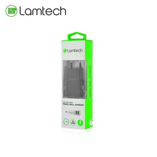 Lamtech 2xUSB Wall Charger Διπλος Φορτιστης Πριζας Τοιχου 240V