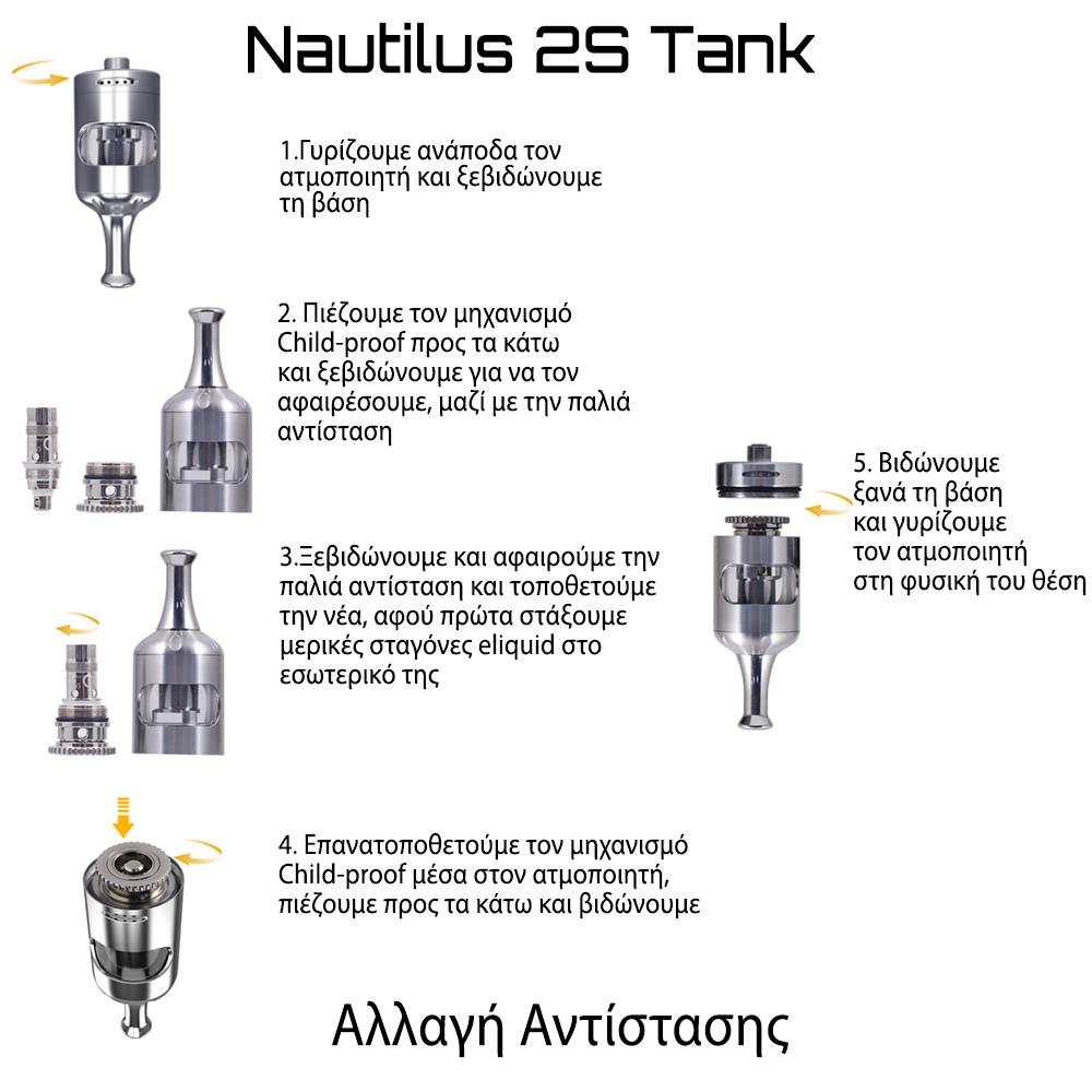 Aspire Nautilus 2S Αλλαγή Αντίστασης